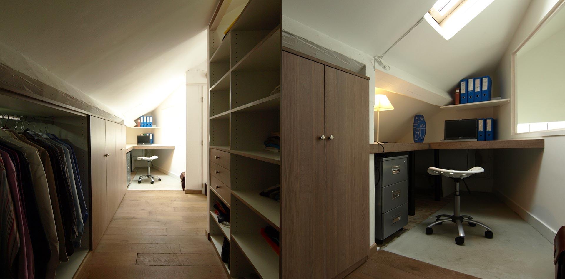 bureau et dressing espace optimisé pour la suite parentale à Meudon ...