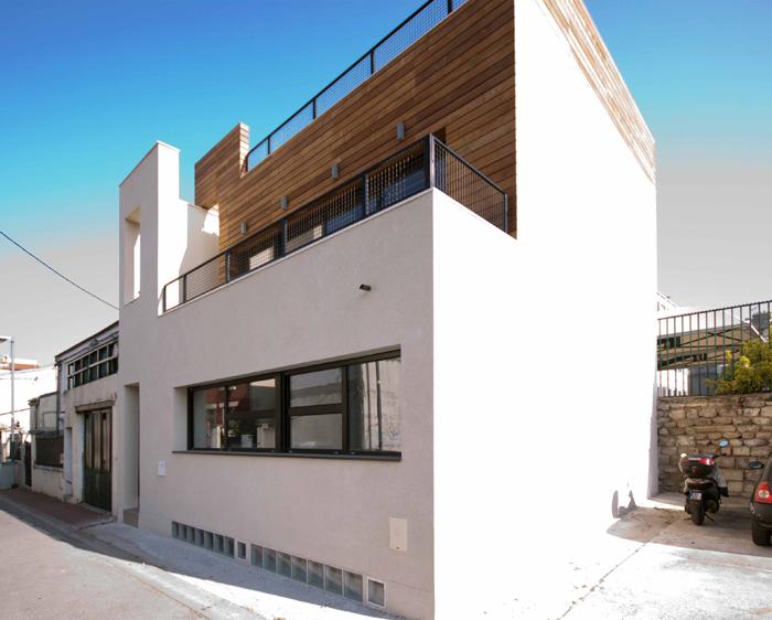 maison so'house façade enduit et bardage bois