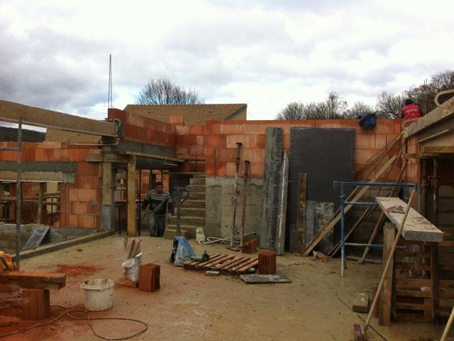 Chantier de la maison Vineshoot à Montlignon: superstructure en cours