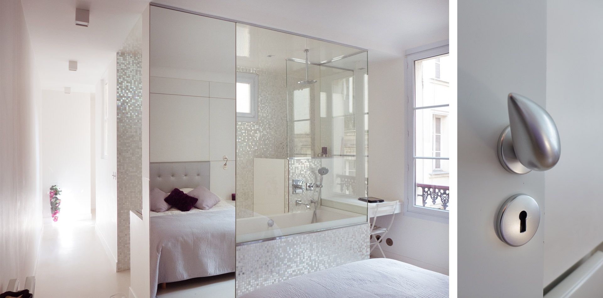 Sof architectes un appartement parisien au design blanc for Surface suite parentale