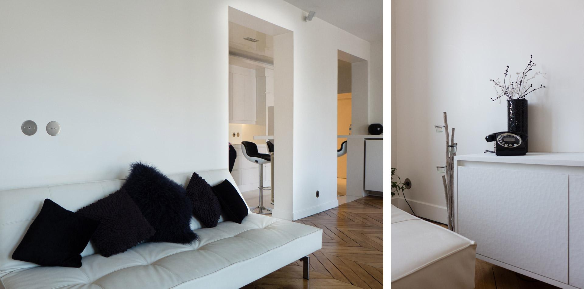 Sof architectes un appartement parisien au design blanc for Appartement design blanc
