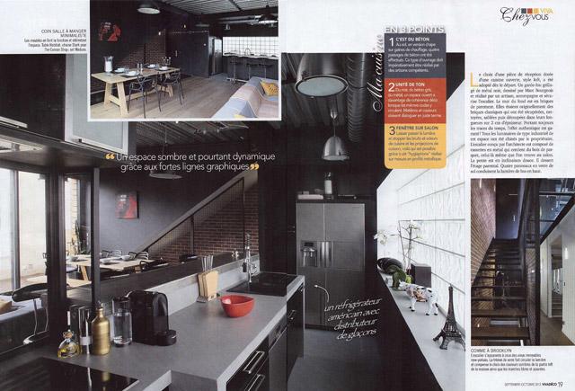 un article dans la revue Viva Déco sur la maison So'House de style new yorkais Brroklin à Saint Ouen
