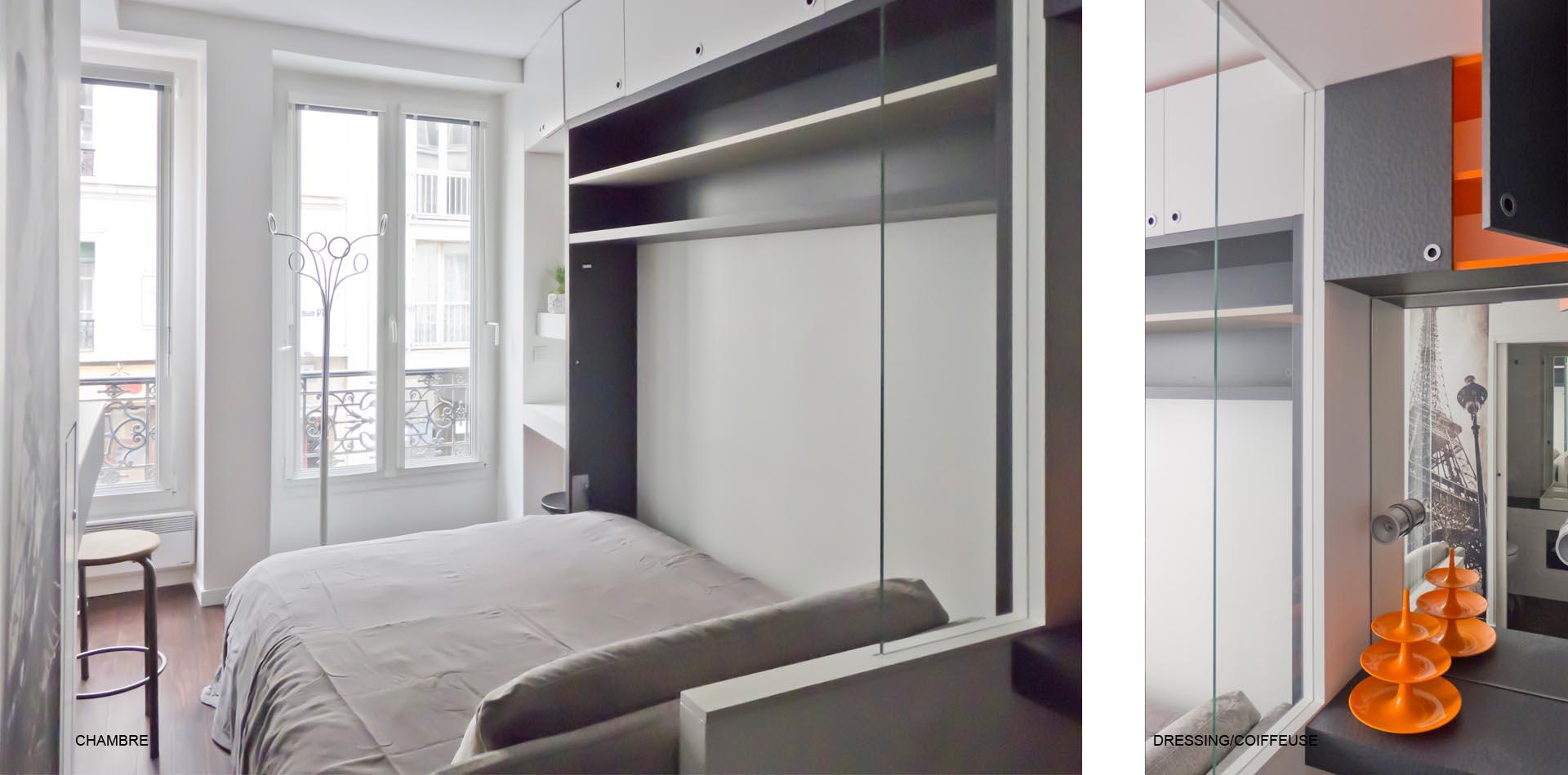 Dressing Avec Coiffeuse Intégrée studio de style boutique hotel rue keller à bastille lit